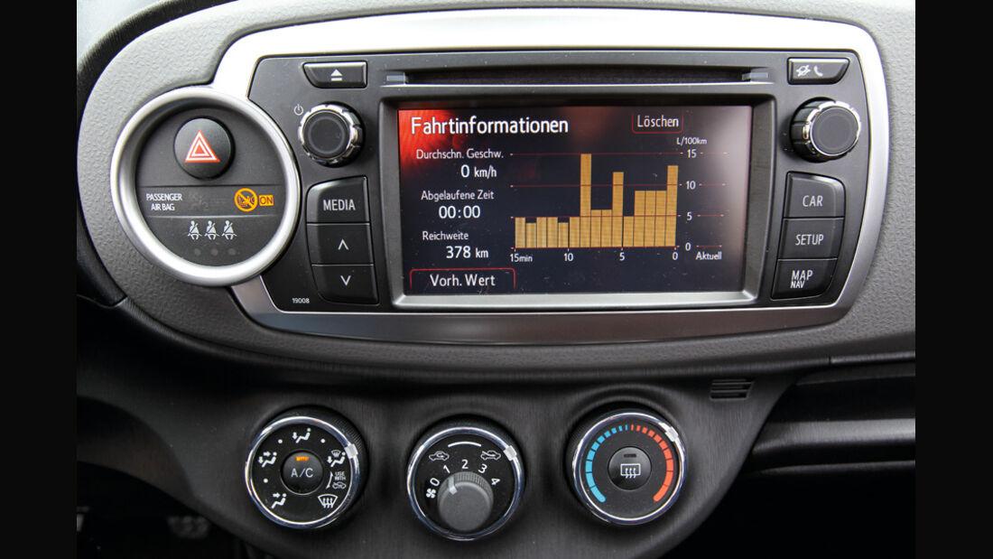 Toyota Yaris 1.4D-4D, Verbrauchsgrafik, Bildschirm
