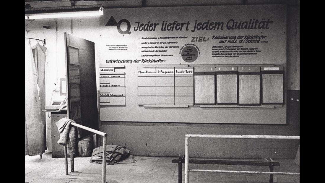 Trabant, Werkstätte, Tafel, Arbeitsschritte, Motto