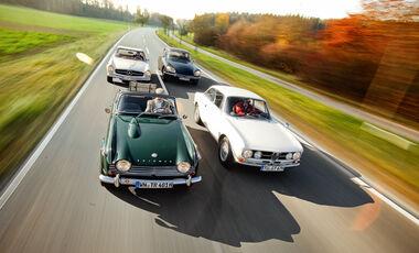 Triumph TR 4A, Mercedes 280 SL, Citroen D Super 5, Alfa Romeo 1750 GTV