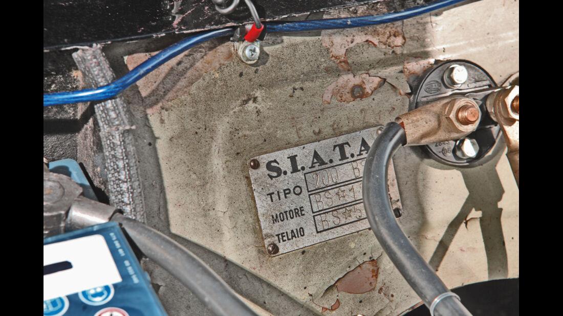 Typenschild eines Siata 208 S