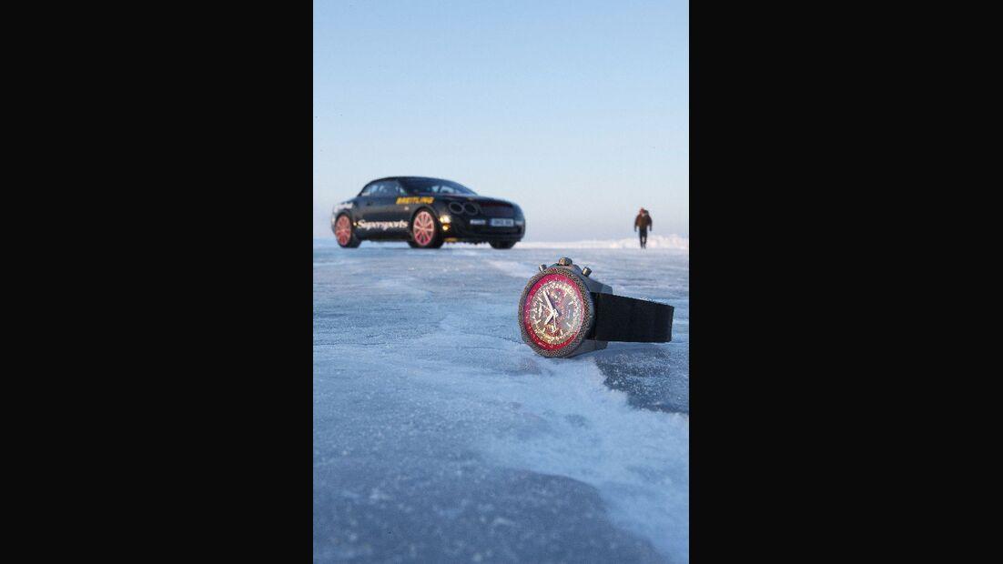 Uhr, Rekordfahrt, Bentley Continental Supersports Convertible ISR, Finnland