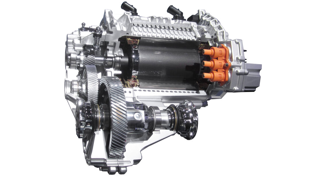 Umrichtergeführter Synchron-Elektromotor aus dem VW E-Golf (Schnittmodell).