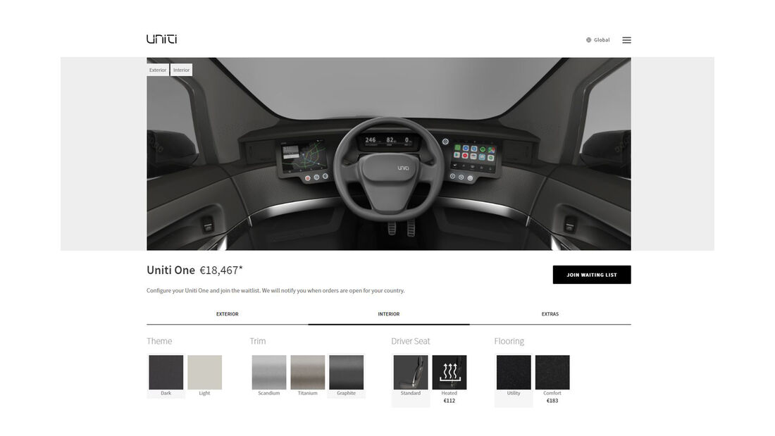 Uniti One Elektroauto Startup Schweden Konfigurator