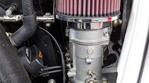 VW 1303 Rallye, 46er-Doppelfallstromvergaser, Detail