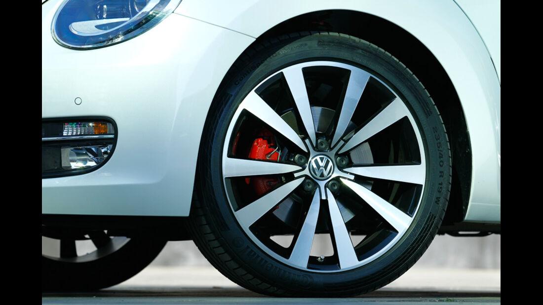 VW Beetle 2.0 TSI DSG, Detail, Vorderrad, Felge
