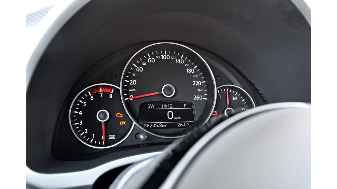 VW Beetle 2.0 TSI, Rundinstrumente