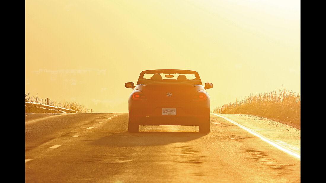 VW Beetle, Alaska, Sonnenuntergang