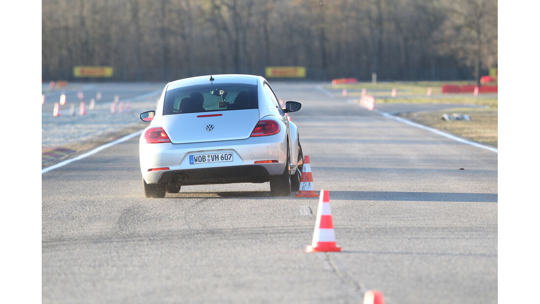 VW Beetle, Heckansicht, Slalom