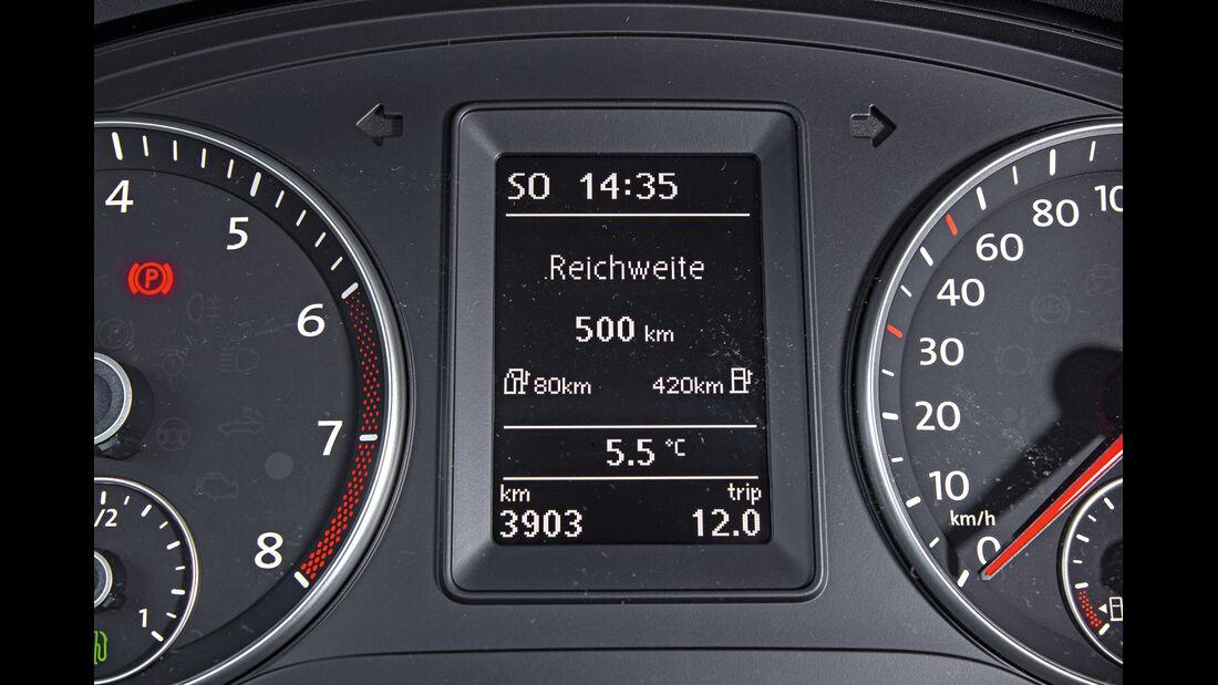 VW Caddy Bifuel, VW Caddy Ecofuel, Anzeige