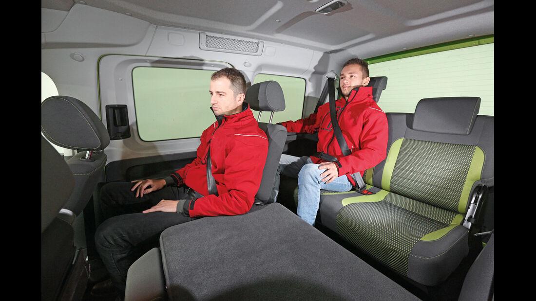 VW Caddy, Dritte Reihe, Umklappen