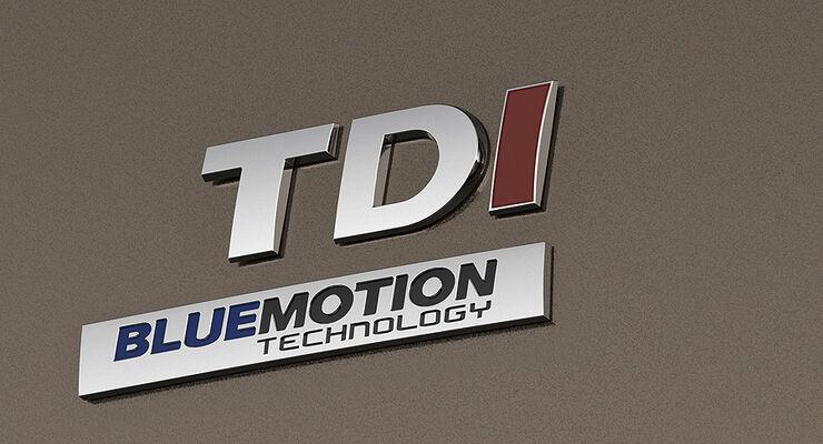 VW Caddy Modelljahr 2010 TDI Bluemotion Schriftzug