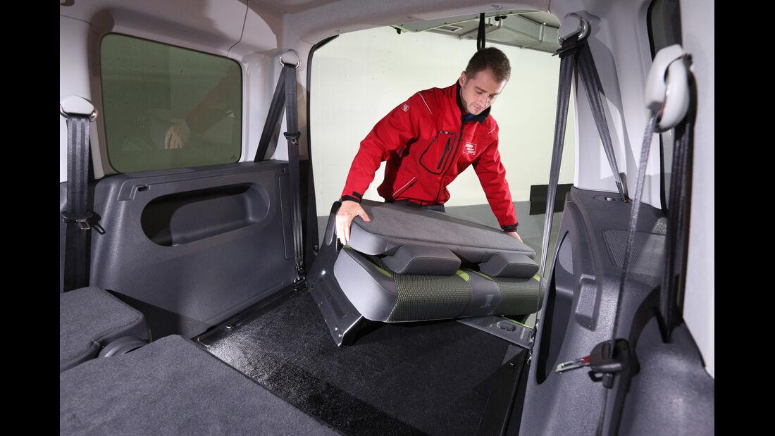VW Caddy, Sitze, Umklappen
