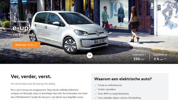 VW E-Up, Niederländische VW-Webseite