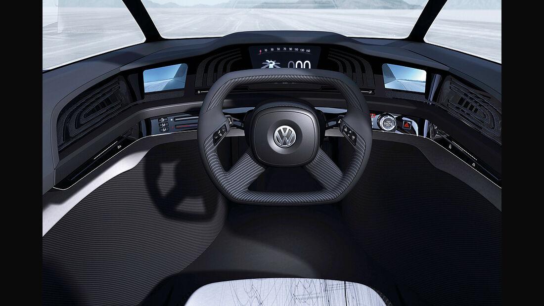VW Einliter-Auto, VW L1, Innenraum, Cockpit, Lenkrad