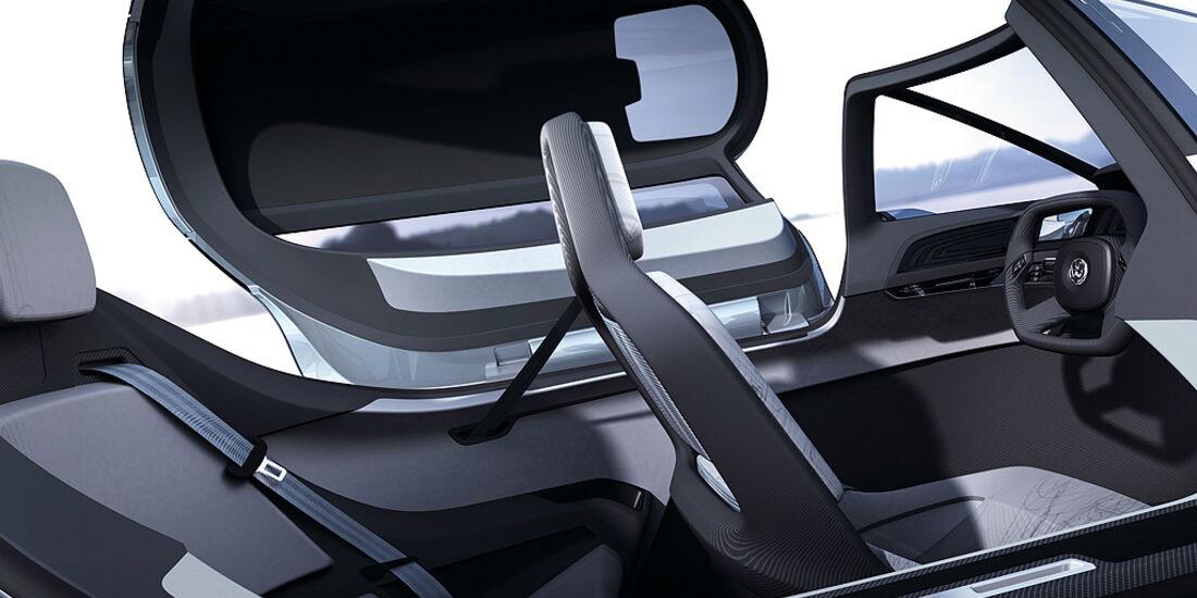 VW Einliter-Auto, VW L1, Innenraum, Cockpit, Sitze