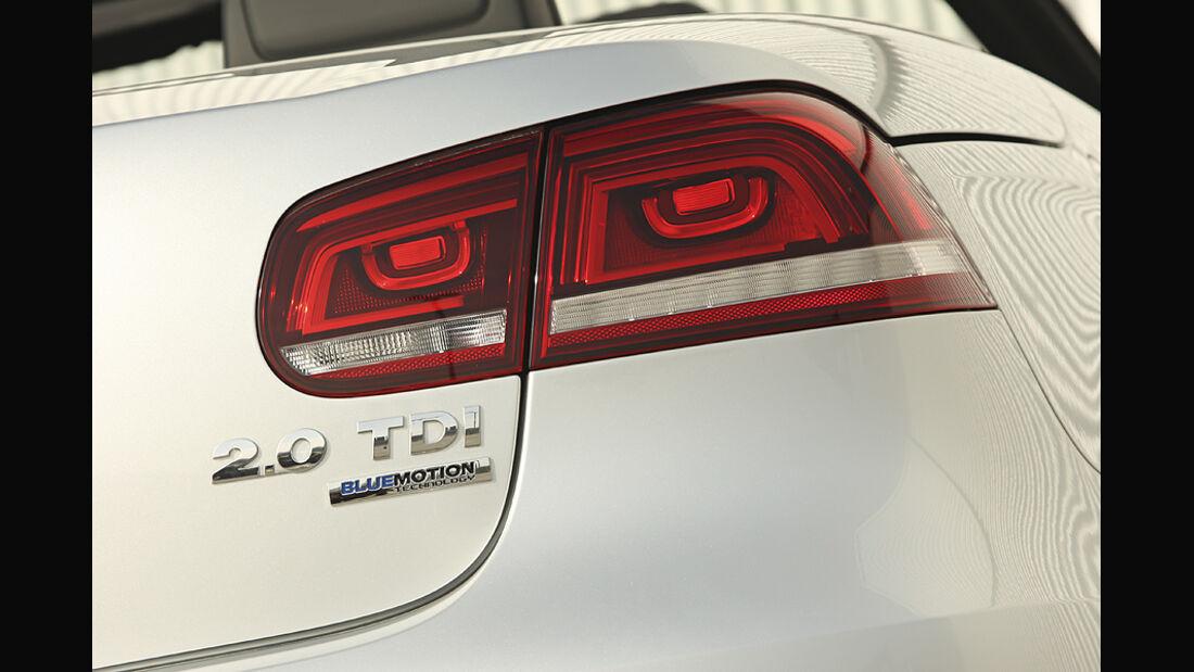 VW Eos 2.0 TDI Blue Motion Technology, Cabrio, Rücklicht, Heck