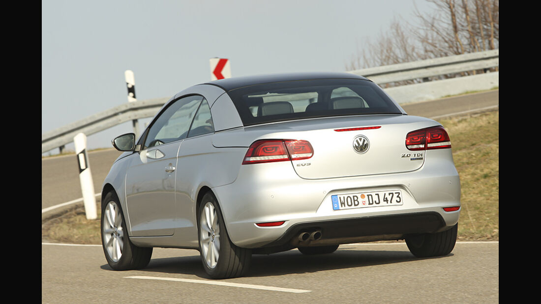 VW Eos 2.0 TDI Blue Motion Technology, Cabrio geschlossen, Heck