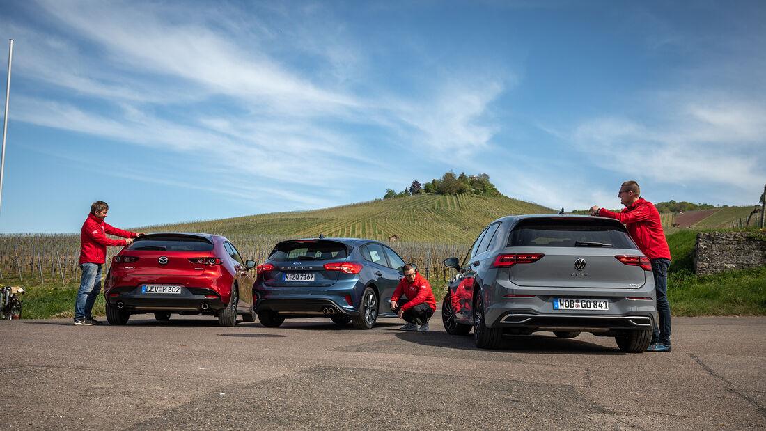 VW Golf 1.5 eTSI DSG, Ford Focus 1.5 EcoBoost, Mazda 3 G 150, Exterieur