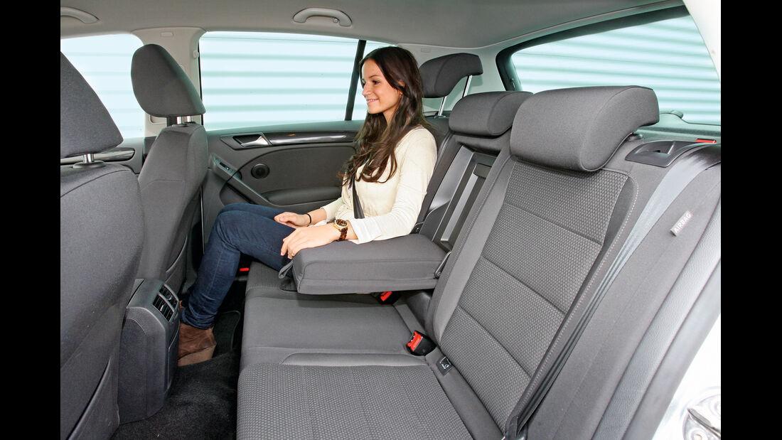 VW Golf 1.6 TDI, Rücksitz, Beinfreiheit