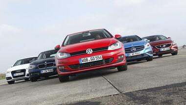 VW Golf 2.0 TDI, Audi A3 2.0 TDI, Mercedes A 200 CDI, BMW 118d Sport Line, Volvo V40 D3, Frontansicht