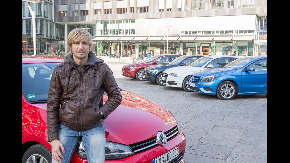 VW Golf 2.0 TDI, Audi A3 2.0 TDI, Mercedes A 200 CDI, BMW 118d Sport Line, Volvo V40 D3, Marcus Peters