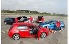 VW Golf 2.0 TDI, Audi A3 2.0 TDI, Mercedes A 200 CDI, BMW 118d Sport Line, Volvo V40 D3, Seitenansicht