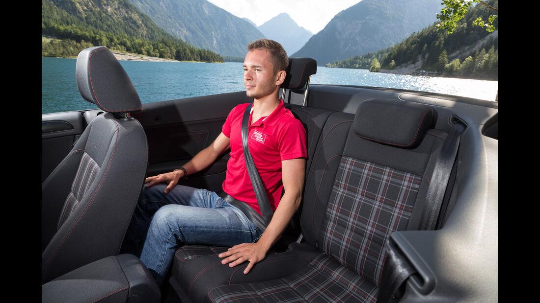 VW Golf Cabrio, Rücksitz, Beinfreiheit