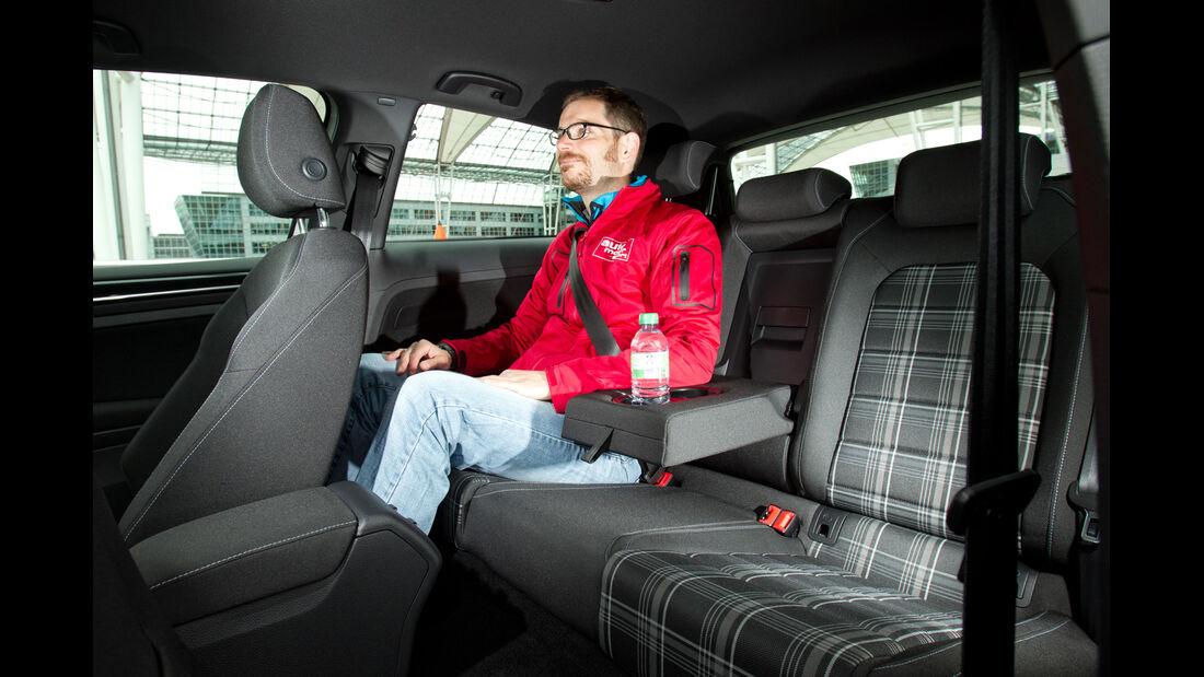 VW Golf GTD, Rücksitz, Beinfreiheit