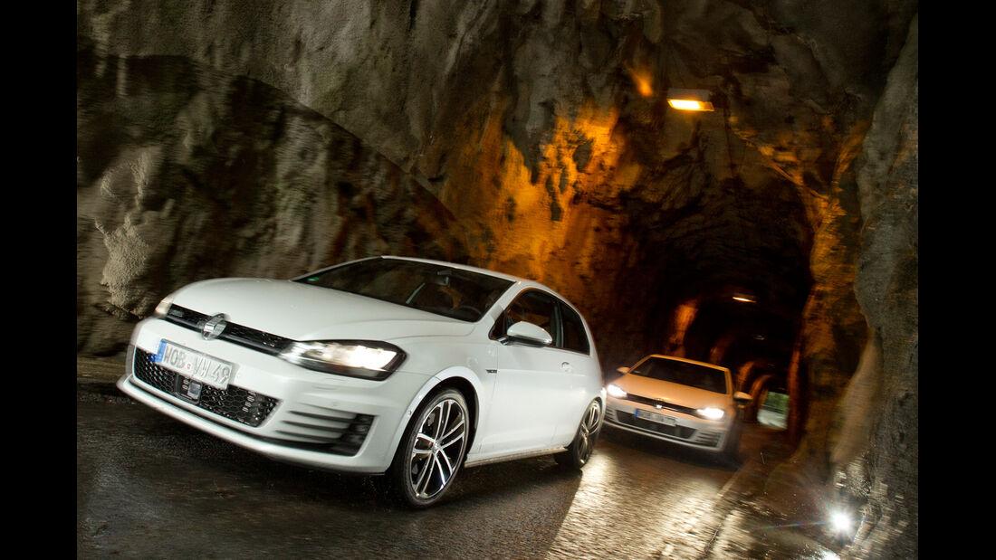 VW Golf GTD, VW Golf GTI, Frontansicht, Tunnel