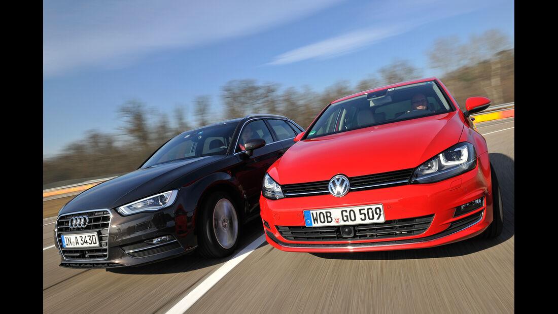 VW Golf GTI 2.0 TDI, Audi A3 Sportback 2.0 TDI, Frontansicht