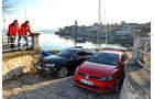 VW Golf GTI 2.0 TDI, Audi A3 Sportback 2.0 TDI, Frontansicht, Hafen