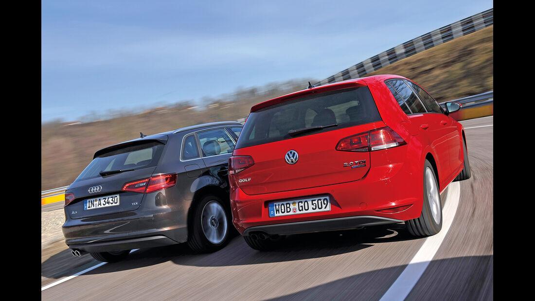 VW Golf GTI 2.0 TDI, Audi A3 Sportback 2.0 TDI, Heckansicht