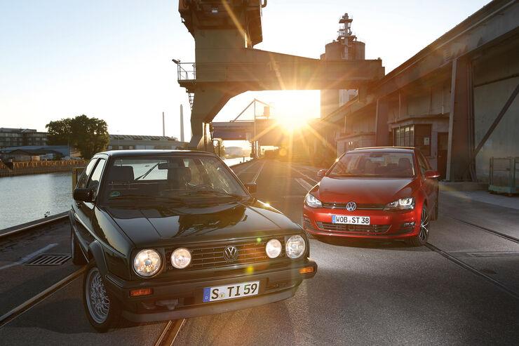 VW Golf II GT, VW Golf VII 1.2 TSI, Frontansicht