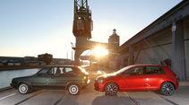 VW Golf II GT, VW Golf VII 1.2 TSI, Seitenansicht