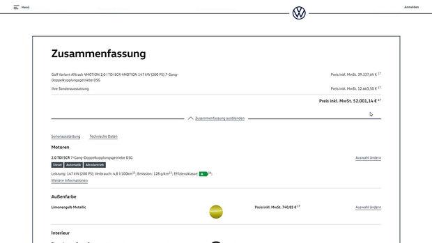 VW Golf Konfigurator, ams2620
