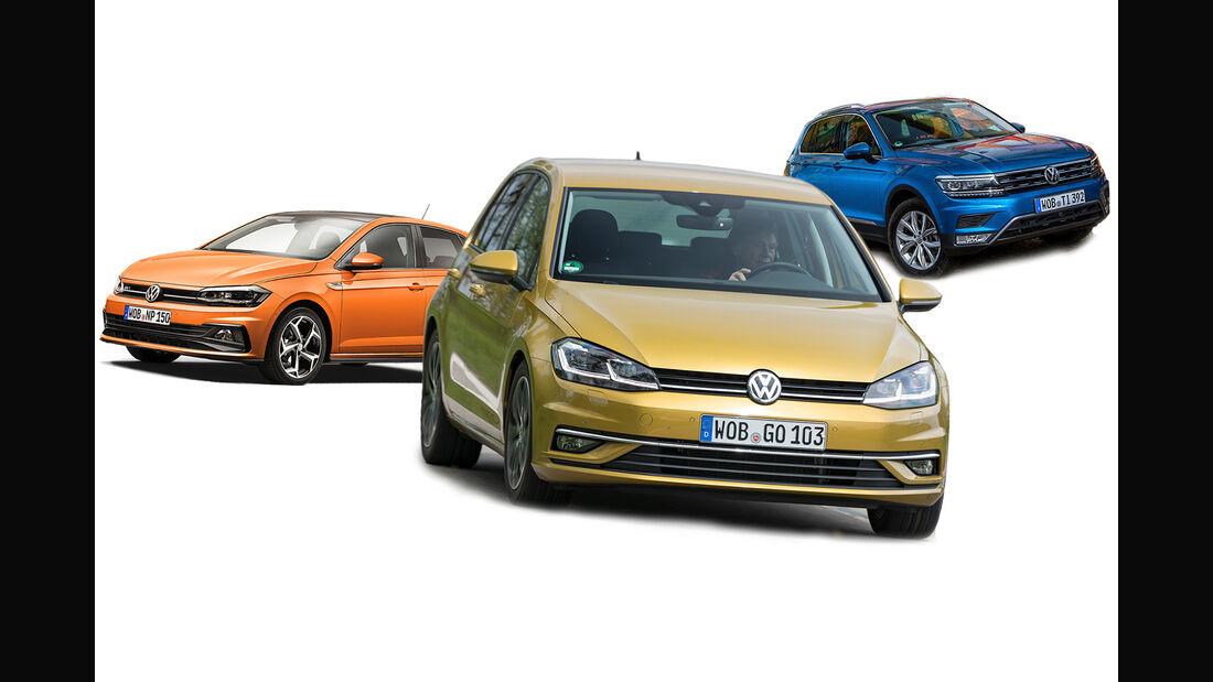 VW Golf Polo Tiguan Collage Zulassung 2019 Bilanz