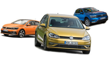 VW Golf Polo Tiguan Collage Zulassung 2019 Bilanz