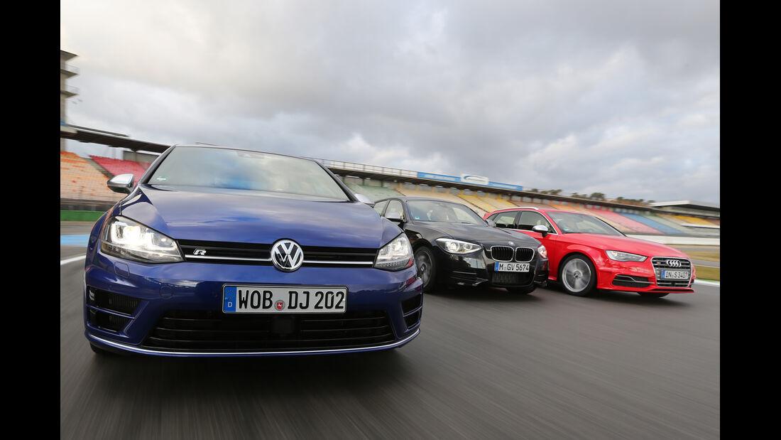VW Golf R, Audi S3 Sportback, BMW M135i xDRIVE, Frontansicht