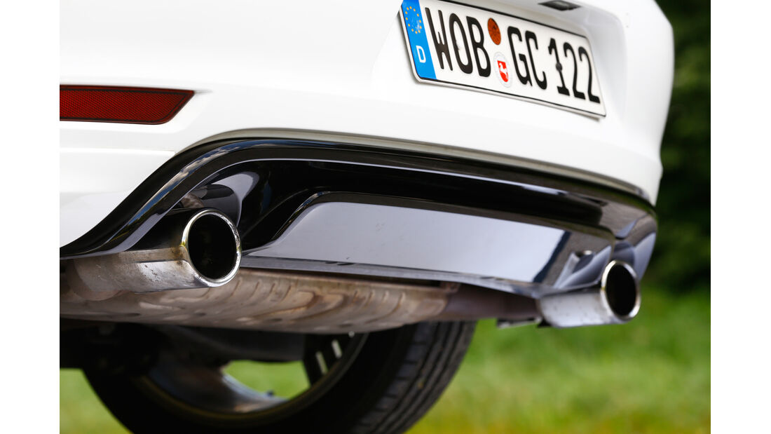 VW Golf R Cabriolet, Auspuff, Endrohre