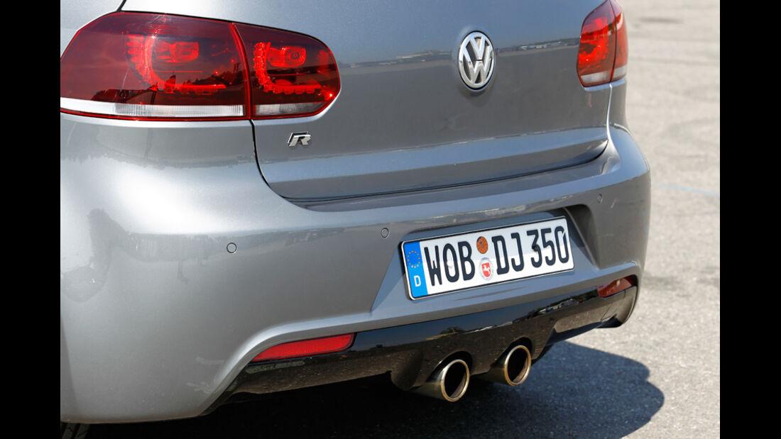 VW Golf R, Detail, Heckansicht, Kofferraum, Auspuff