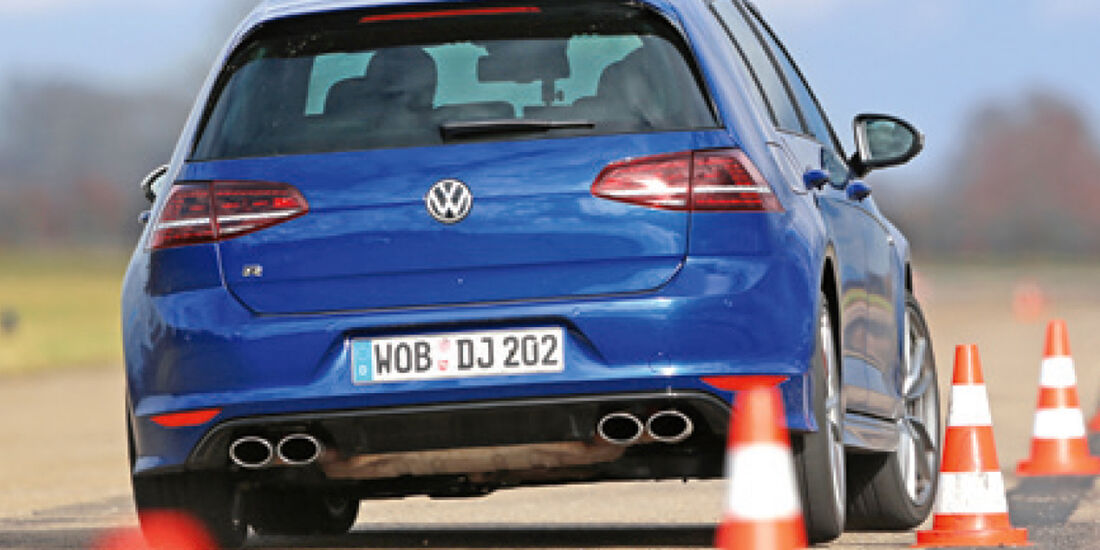 VW Golf R, Slalom, Heckansicht