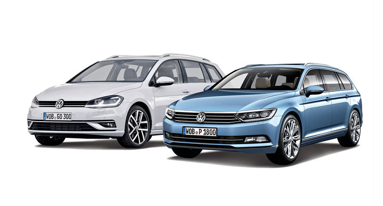 VW Golf und VW Passat Dienswtagenduell