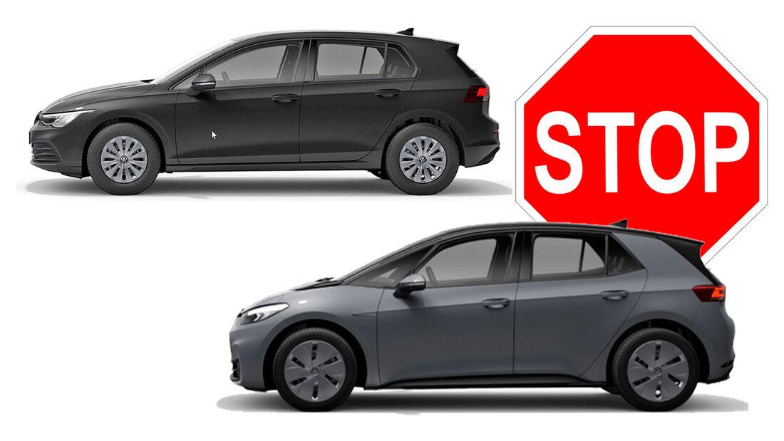 VW ID.3 und Golf Basismodelle Stopp