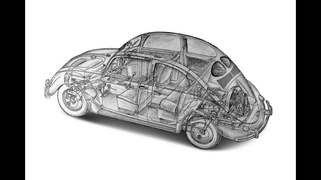 VW Käfer Schnittzeichnung Röntgenbild