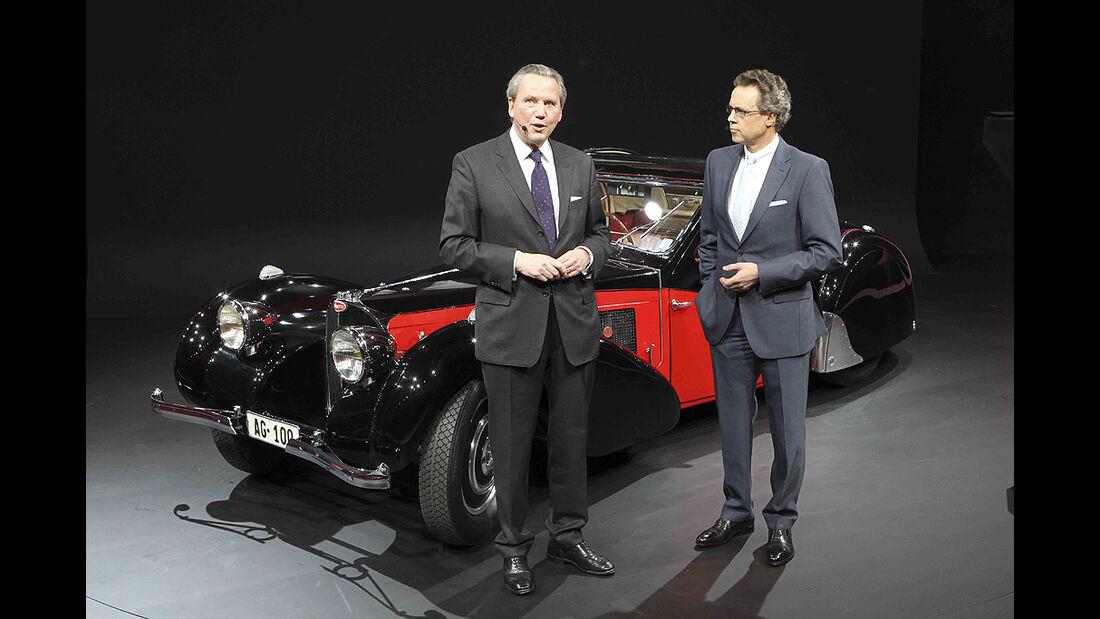 VW-Konzernabend, Genfer Autosalon 2011, Bugatti 75 SC Atalante, Wolfgang Dürheimer, Franz-Joesef Paefgen