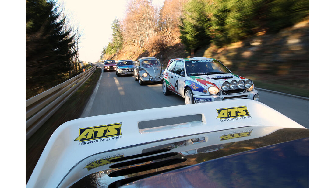VW Mille-Miglia-Käfer, BMW 2002 ti Rallyeversion, Ford RS200, Opel Commodore GS, Toyota Corolla WRC, Frontansicht
