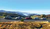 VW Mille-Miglia-Käfer, BMW 2002 ti Rallyeversion, Ford RS200, Opel Commodore GS, Toyota Corolla WRC, Seitenansicht