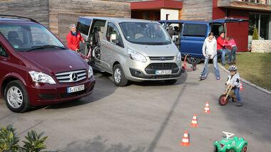 VW Multivan 2.0 TDI, Mercedes Viano 2.0 CDI, Ford Tourneo Custom, Familie