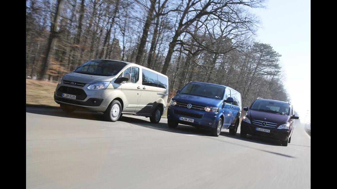 VW Multivan 2.0 TDI, Mercedes Viano 2.0 CDI, Ford Tourneo Custom, Frontansicht