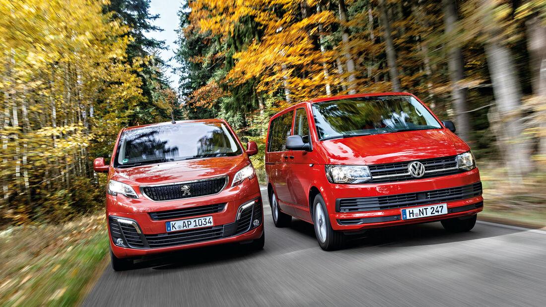VW Multivan 2.0 TDI, Peugeot Traveller HDi 150 L2, Frontansicht